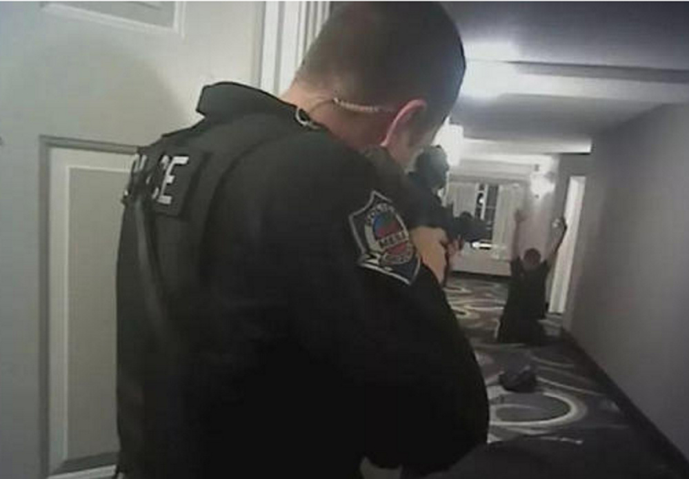 A screenshot from bodycam video released by Mesa, Ariz., police shows Daniel Shaver before he was shot.