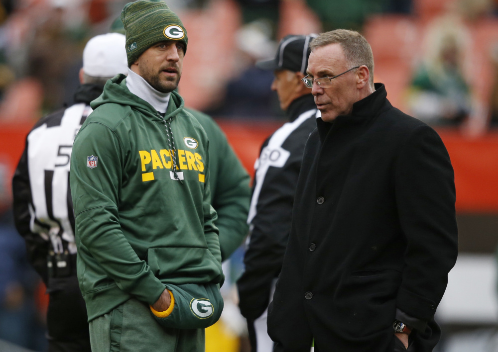 Packers quarterback Aaron Rodgers, left, could be back in action Sunday against Carolina after missing the past eight weeks with a collarbone injury.