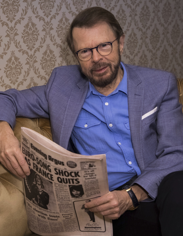 """Bjorn Ulvaeus poses to promote the exhibition """"ABBA: Super Troupers"""" in London on Wednesday."""