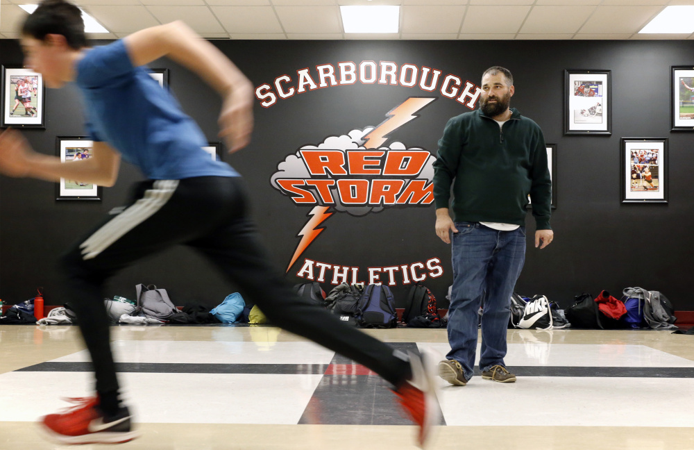 Derek Veilleux, the Scarborough boys' indoor track coach, adds something new each year to the way his team prepares.