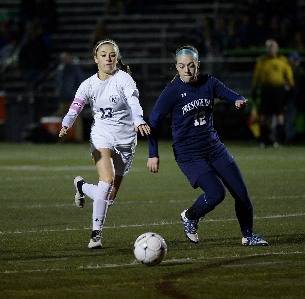 Sara D'Appolonia, left, factored in 58 of Yarmouth's 93 goals this season, including scoring during the 9-0 victory against Presque Isle that wrapped up the state championship for the Clippers last month.