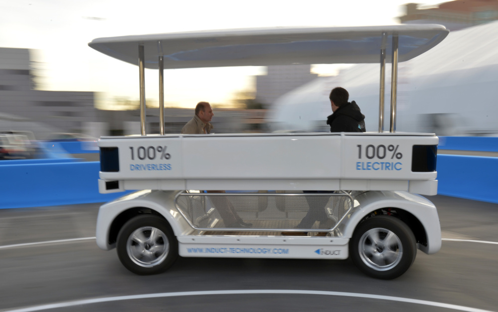 A driverless shuttle is previewed in Las Vegas in 2014. The technology behind vehicles like this has progressed rapidly and could be on the streets close to home in the next few years.