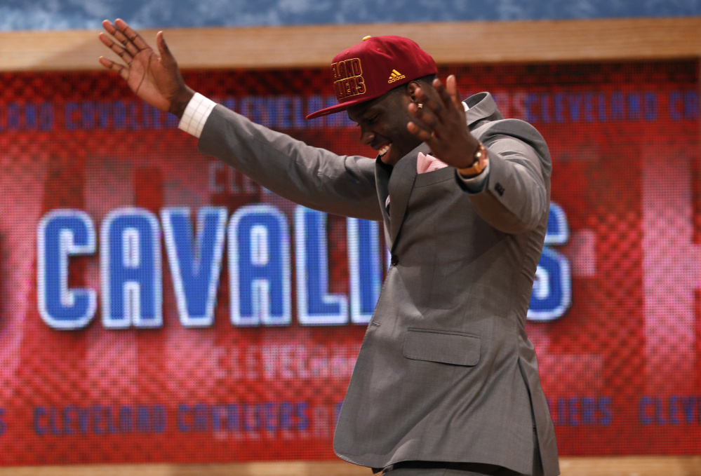 Anthony Bennett reacts after being selected by the Cleveland Cavaliers as the first overall pick in the 2013 NBA Draft. Bennett played in college at the University of Nevada-Las Vegas but is considered one of the biggest NBA busts. He has played for four NBA teams since draft day, and on Thursday signed to play with the Maine Red Claws of the developmental G League.