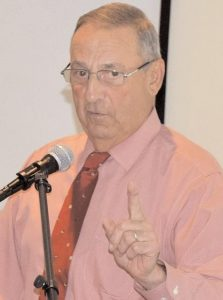 GOV. PAUL LEPAGE, speaking in Brunswick in July. LePage is dismissing reports that President Trump is encouraging him to run for the Senate seat held by incumbent Angus King.