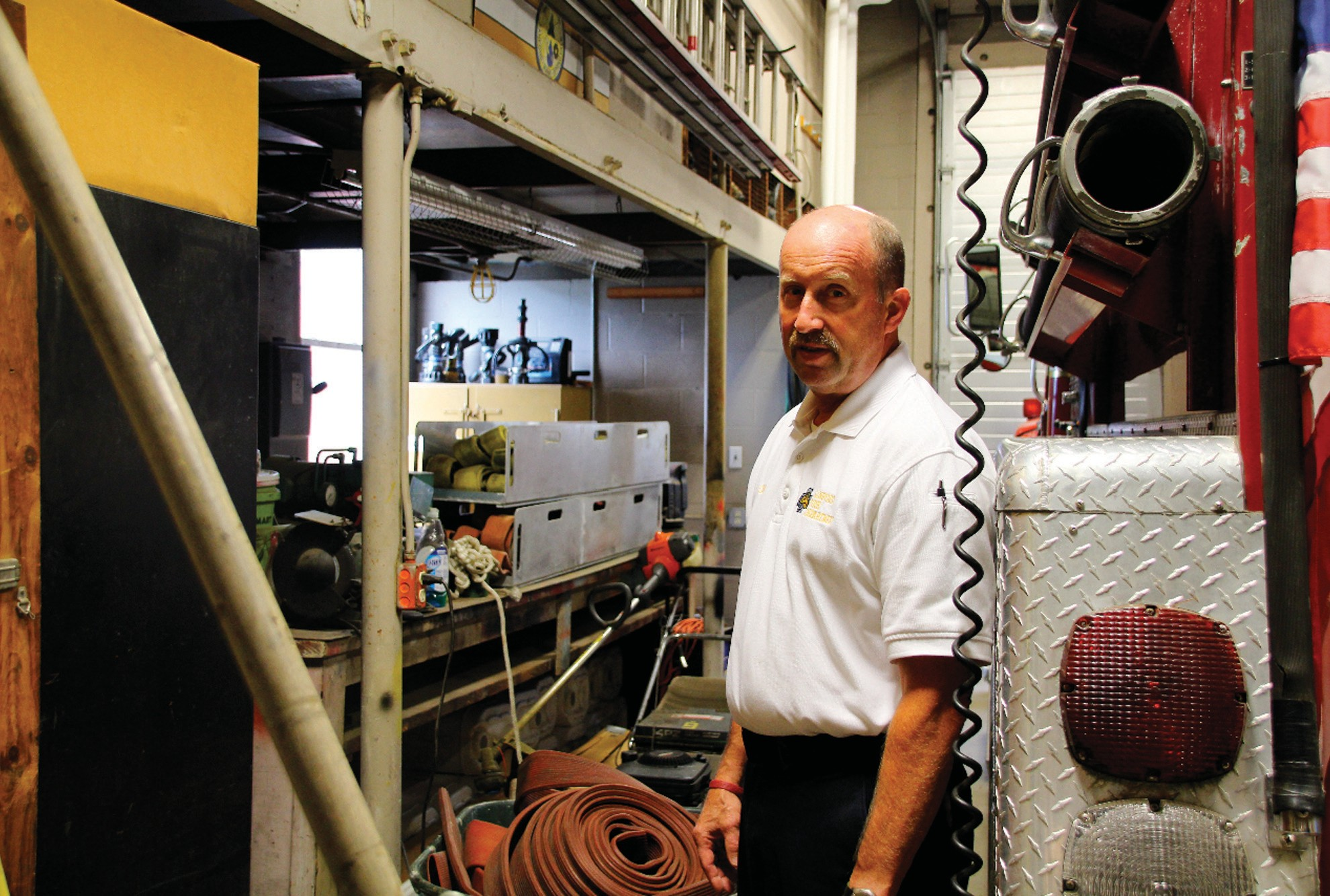 Sanford Fire Chief Steve Benotti stands inside the maintenance bay at Central Station. Because of lack of space, a forestry truck is housed there. Scarce space and a host of other issues have prompted the city to conduct a department-wide assessment of stations, apparatus and more.