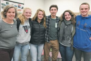 MEMBERS OF MT. ARARAT HIGH SCHOOL'S Teens for Change club, pictured from left, are Sarah Furman, the club's adviser, Brennan Thiboutot, Brea Holtet, Dalton Streeter, Meriwether Stockford and Kody Noyes. Not pictured is Holly Temple.