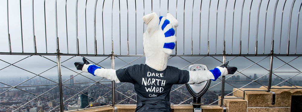 A Colby mule takes in the vista of New York from the observation deck of the Empire State Building recently as the college spreads the word of its capital campaign.