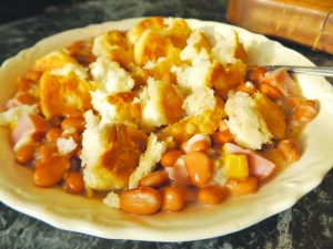 A hearty cobbler topping makes Smoked Ham and Pinto Pandowdy a family favorite in New England. SUBMITTED PHOTO