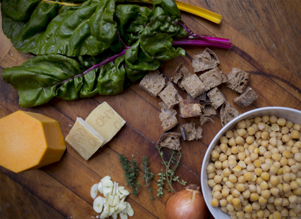 Ingredients for Chickpea, Chard and Butternut Squash Soup – although this soup is so versatile that, in addition to substituting greens and beans, any winter squash peeled and diced can take the place of the butternut squash.