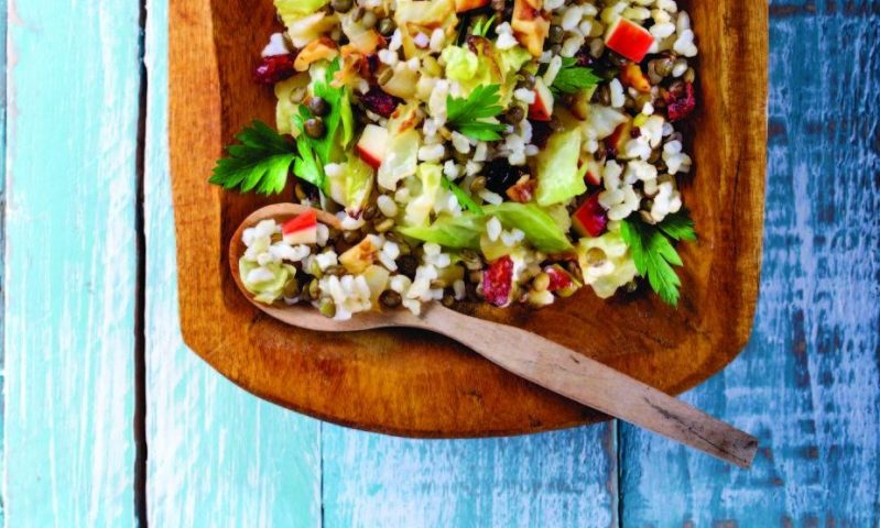 Don't skip the lime wedges when preparing warm brown rice, lentil, cabbage and apple slaw.