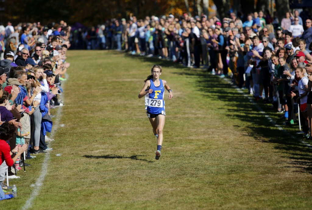 Falmouth freshman Sofie Matson was all alone at the finish line of the Class A state championship at Twin Brook this fall. She joins 2008-2012 winner Abbey Leonardi of Kennebunk High as the only freshmen named Gatorade Cross Country Runner of the Year in Maine.  (Photo by Derek Davis/Staff photographer)