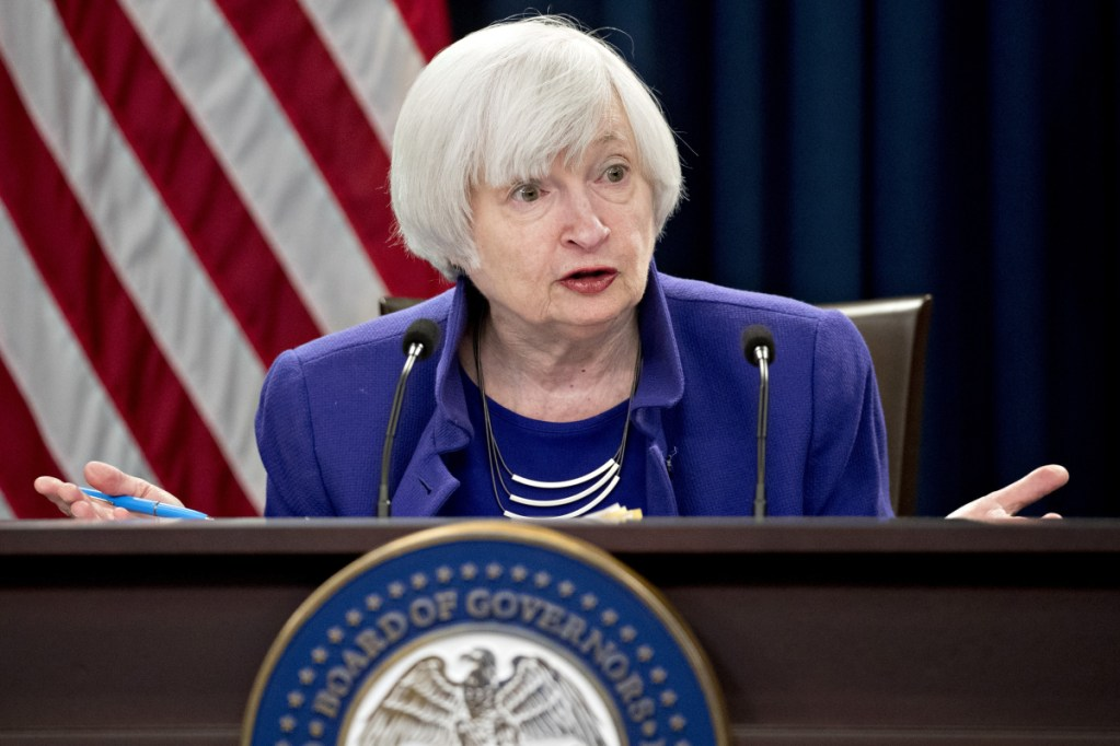 Federal Reserve Chair Janet Yellen during a news conference in Washington on Dec. 13, 2017. MUST CREDIT: Bloomberg photo by Andrew Harrer.