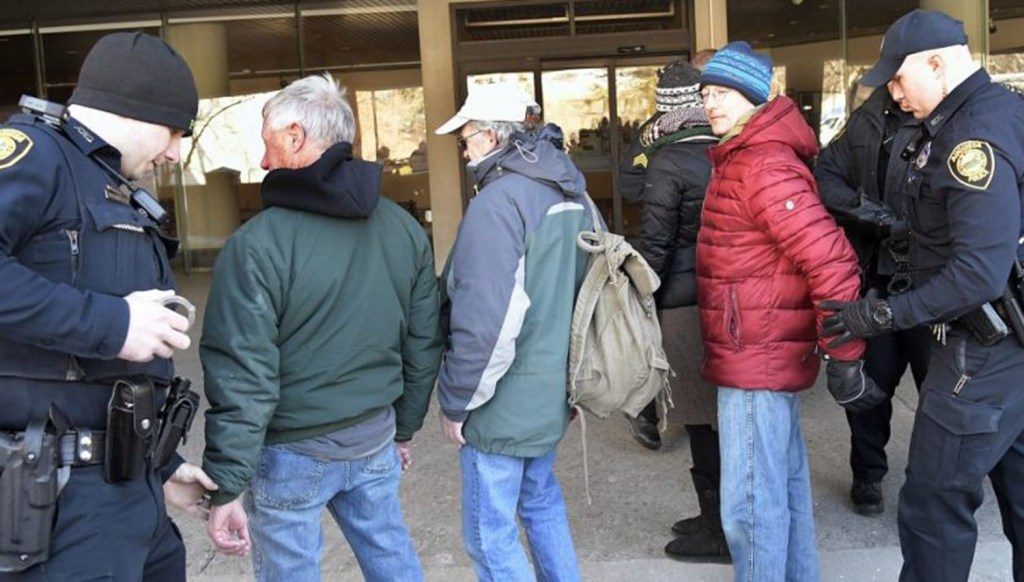 Police on Jan. 29 arrested protesters from the group Speak the Truth to CMP at Central Maine Power in Augusta.