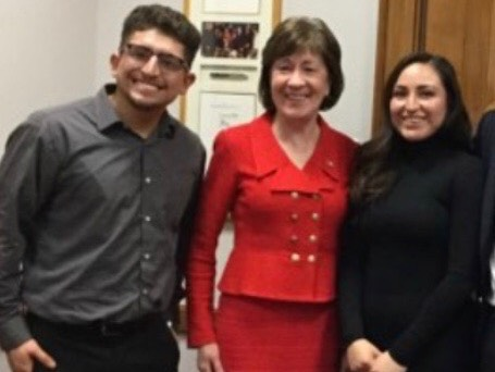 """Sen. Susan Collins, center, meets with DACA beneficiary Christian Castaneda, left, of Portland in Washington, D.C., on Tuesday. The woman at right is also a """"dreamer"""" from Maine who met with Collins. She requested that her name not be used because she feared repercussions in the event DACA protections are rescinded."""