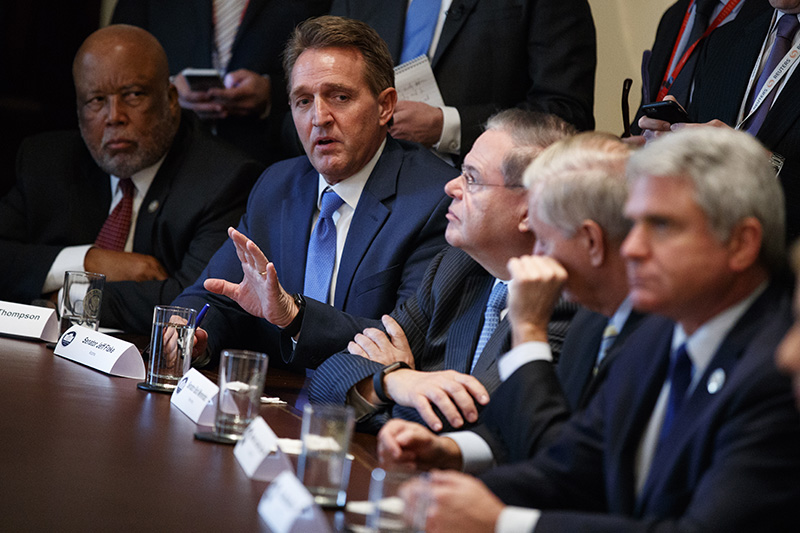 Sen. Jeff Flake, R-Ariz., speaks during a meeting with President Donald Trump and lawmakers on immigration policy at the White House on Tuesday.