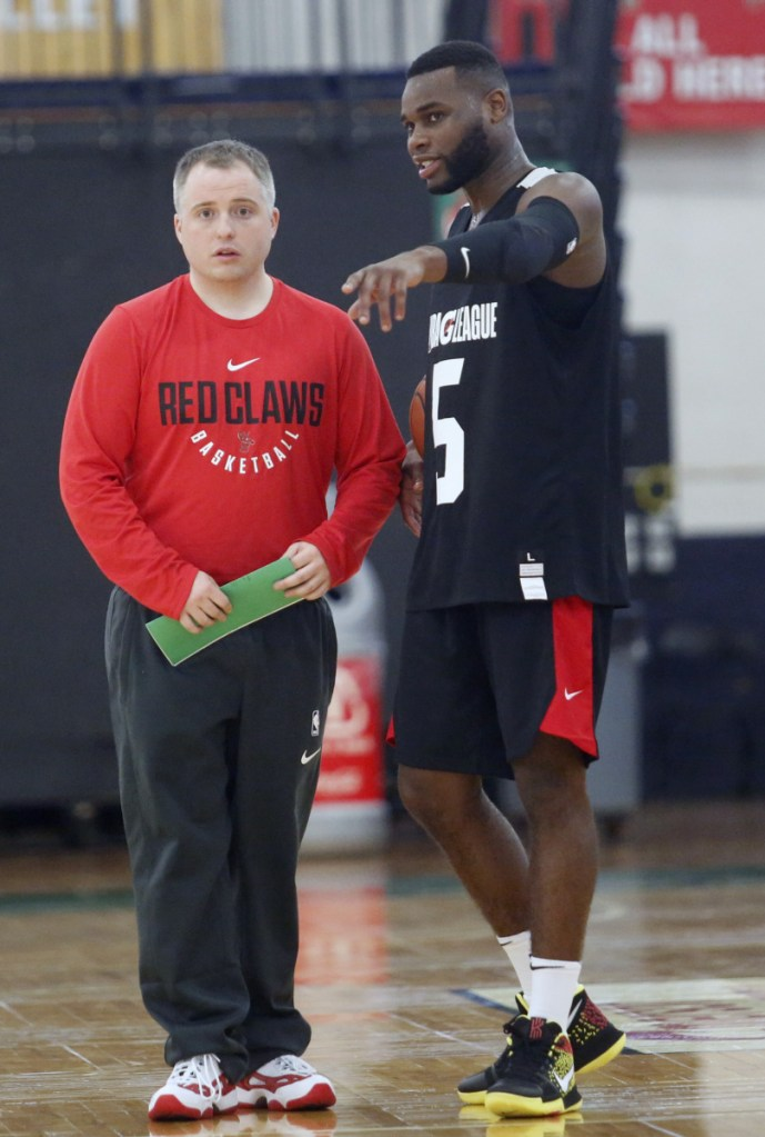Red Claws Coach Brandon Bailey, left, with Kadeem Allen, came up through the Boston Celtics video department, earning the trust of Coach Doc Rivers, then Coach Brad Stevens.