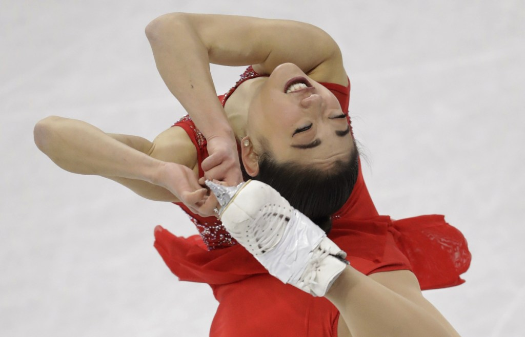Mirai Nagasu of the United States performs in the ladies single skating at Gangneung Ice Arena on Monday.