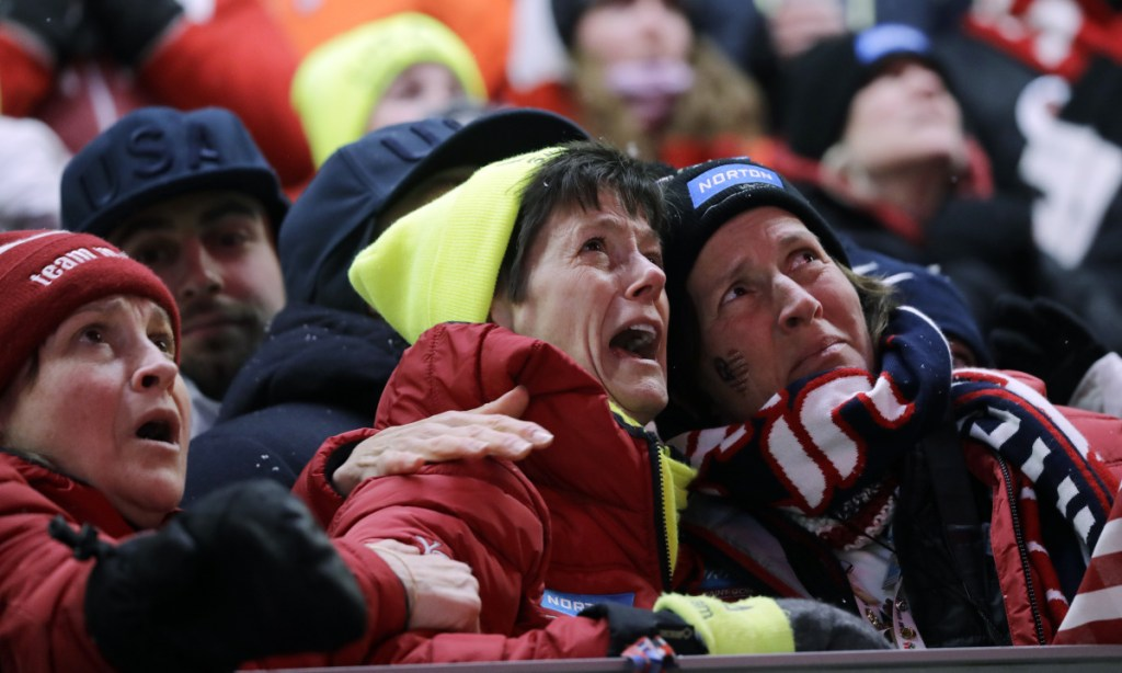 Sue Sweeney, the mother of Emily Sweeney of the United States, cries out as her daughter crashes on the final run during the women's luge final at the 2018 Winter Olympics in Pyeongchang, South Korea, on Tuesday.