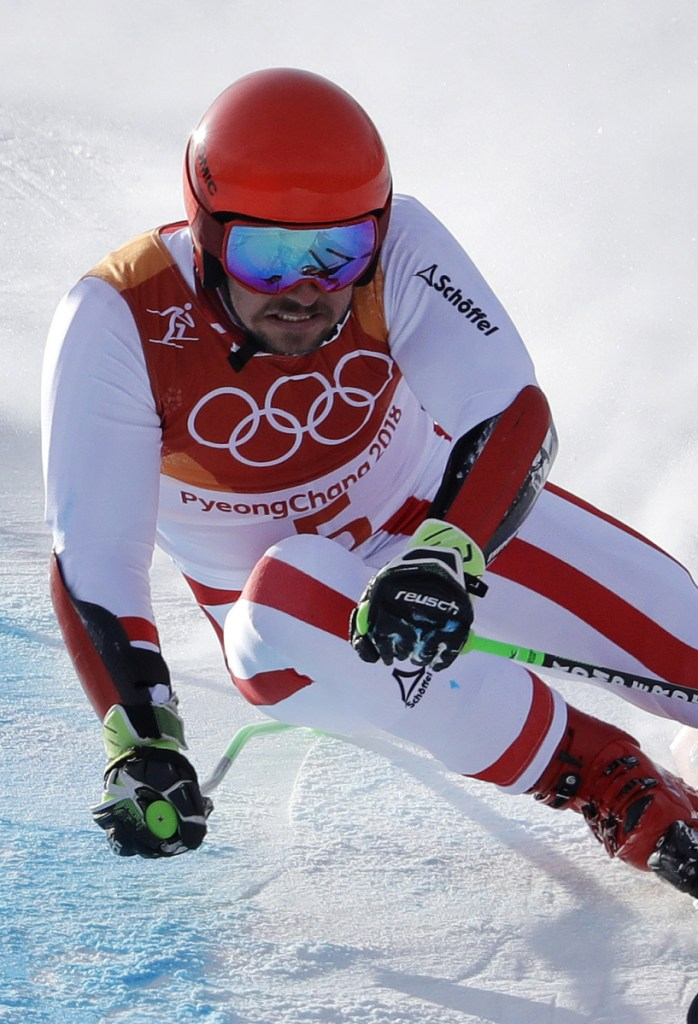 Marcel Hirscher of Austria heads down the hill on his first run Sunday on the way to a dominating victory in the men's giant slalom.