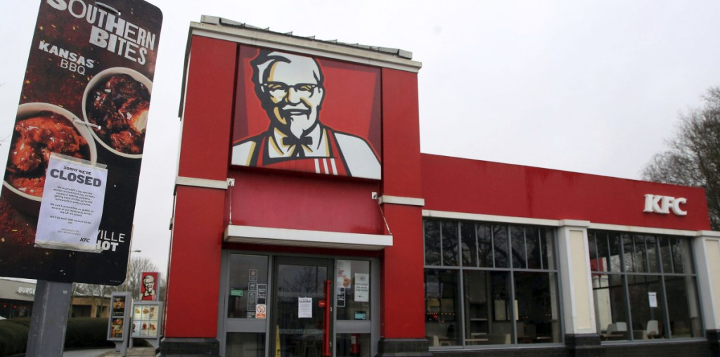 A closed sign is posted outside a KFC restaurant near Ashford, England. As of Monday, about 600 of the KFC locations in the United Kingdom remained closed.