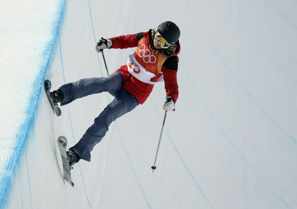 Elizabeth Marian Swaney runs the course during the women's halfpipe qualifying at Phoenix Snow Park at the 2018 Winter Olympics in Pyeongchang, South Korea on Monday.