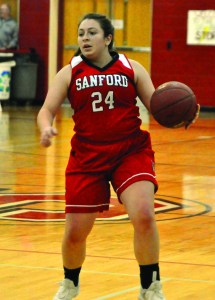 Sanford's Molly Boissonneault dribbles up the court in the second quarter of Tuesday's Class AA South quarterfinal. ALEX SPONSELLER/ Journal Tribune