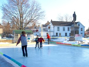The new Central Park Skating Rink in Sanford was a big hit on Wednesday afternoon. Here, skaters Brandy Brooks, Alex Howard, Grayson Perro and John Paul Alexander tried out the new surface, which opened Tuesday afternoon. TAMMY WELLS/Journal Tribune
