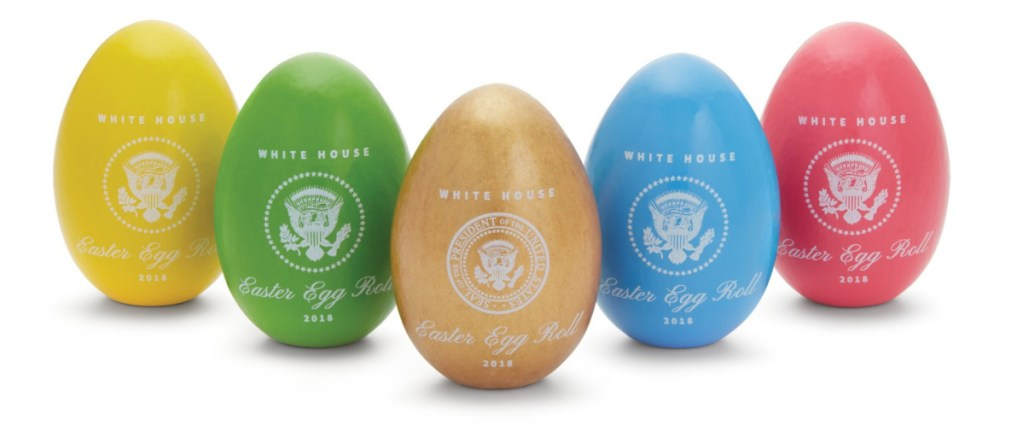 The official 2018 White House Easter Eggs have been crafted by Maine Wood Concepts in New Vineyard and come in yellow, green, pink or blue, plus there's a special gold egg.
