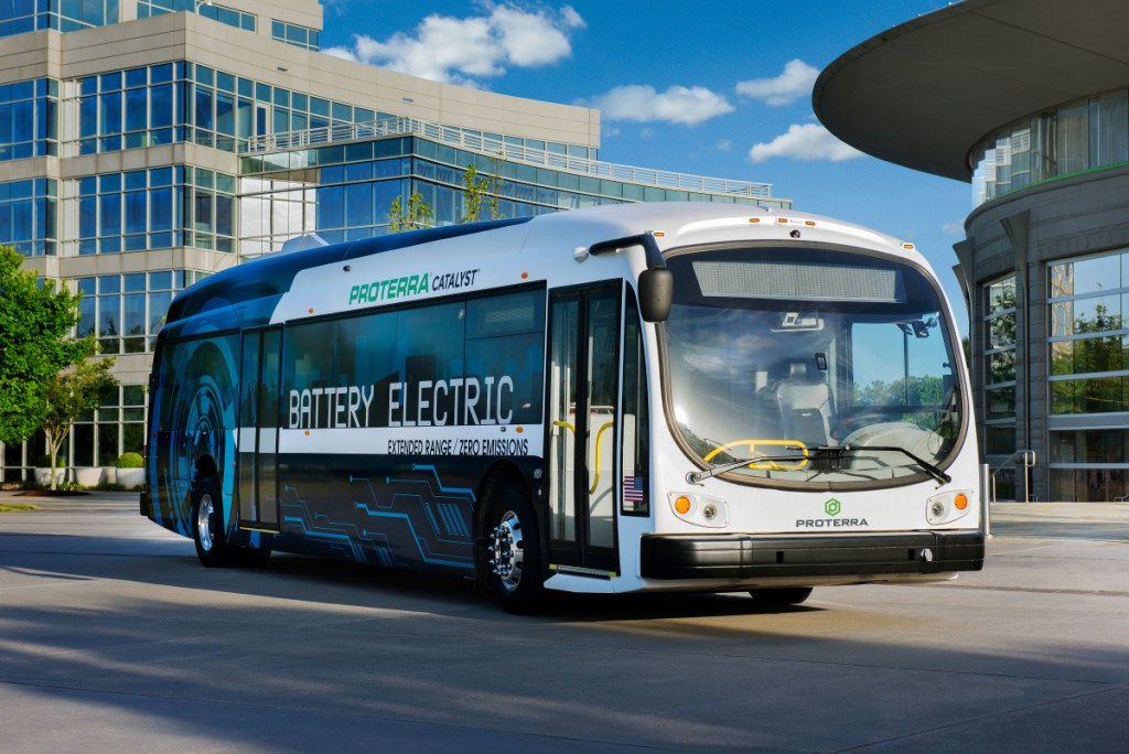 This rendering shows an electric bus made by Proterra, one of the manufacturers being considered by Greater Portland Metro and ShuttleBus-Zoom to replace aging diesel buses. Metro will offer free rides on an electric bus, leaving from 114 Valley St. in Portland, starting at noon Tuesday.