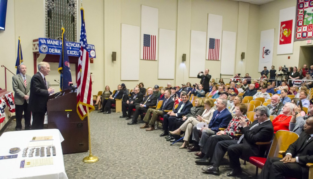 U.S. Sen. Angus King, I-Maine, gives remarks Thursday during a Vietnam War 50th anniversary event at the VA Maine Healthcare Systems-Togus, which includes the federal hospital outside Augusta.