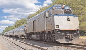 A DOWNEASTER train set, as seen in Brunswick in 2016. A pilot program would have extended service north from its current Brunswick terminus to Rockland, with stops in several Midcoast communities, including Bath and Wiscasset. Those plans appear to be on hold.
