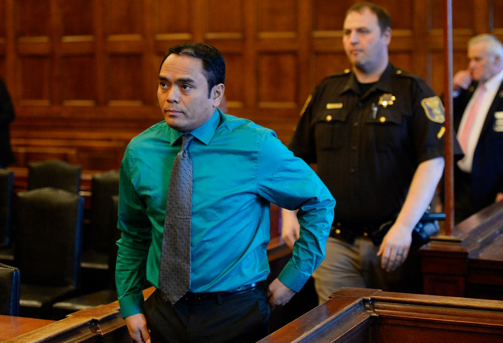 Anthony Leng enters the Cumberland County Court Friday. Leng is accused of murdering his domestic partner but he is claiming self-defense in her shooting death, saying she had a knife when he shot her.