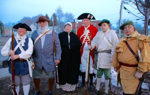 Helping Sanford mark the 250th anniversary of incorporation on Tuesday evening were these Colonial re-enactors, including Cindy Normandeau, Blaine Porter, Barbara Hanson, Linwood Dall, Edward Hanson and Walter Hanson. TAMMY WELLS/Journal Tribune