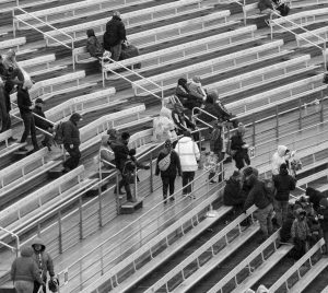 FANS LEAVE after rain cancelled the NASCAR Trucks Series auto race at Martinsville Speedway in Martinsville, Va., on Saturday.