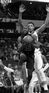 CHARLOTTE HORNETS Kemba Walker (15) droves past Memphis Grizzlies' Ivan Rabb (10) during the first half of an NBA basketball game in Charlotte, N.C., Thursday.