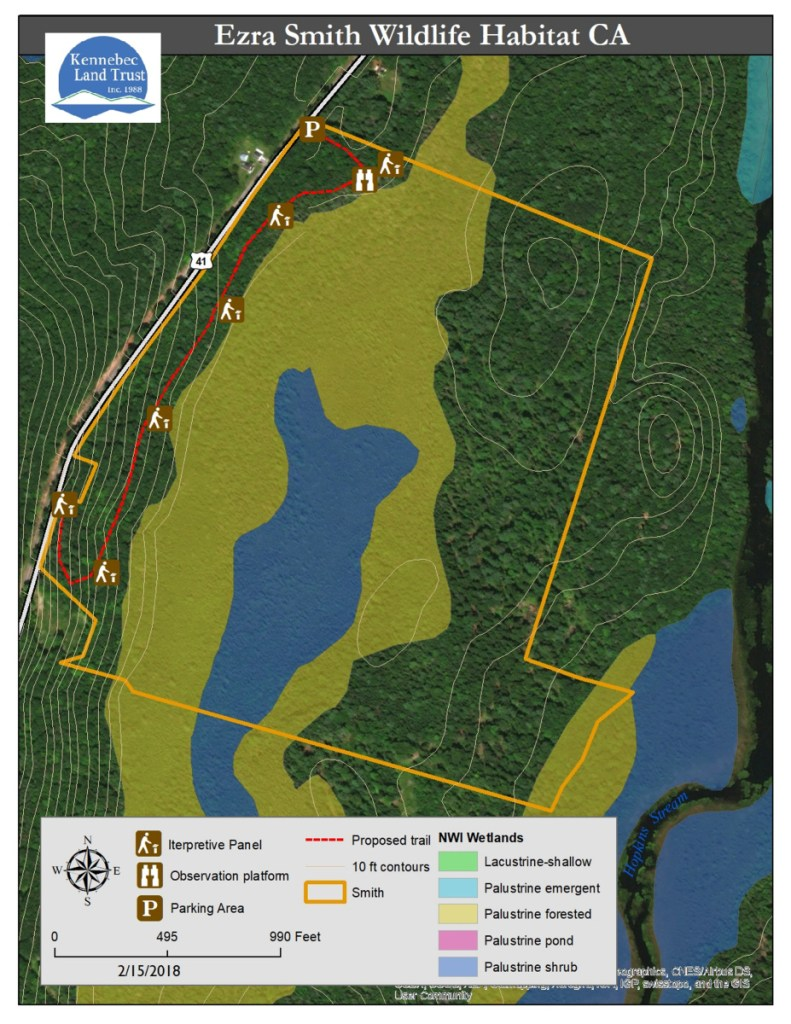 A map of the Ezra Smith Wildlife Conservation Area.