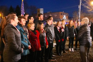 The Sanford High School Chorus, singing the National Anthem, helped their community mark its 250th birthday on Tuesday, Feb. 27, during a celebration in Central Park. TAMMY WELLS/Journal Tribune