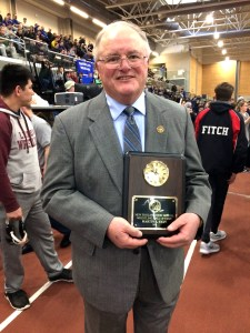 Former Kennebunk and Wells Athletic Director Marty Ryan was inducted into the New England High School Wrestling Hall of Fame during the New England Interscholastic Wrestling Championships held in Providence last weekend. PAT McDONALD/Journal Tribune