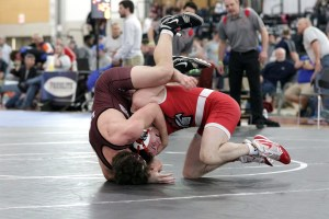 Sanford senior Sam Anderson works for a takedown during a match at the New England Interscholastic Wrestling Championships in Providence on Saturday. Anderson would finish second in the 170-pound weight class. JASON GENDRON PHOTOGRAPHY