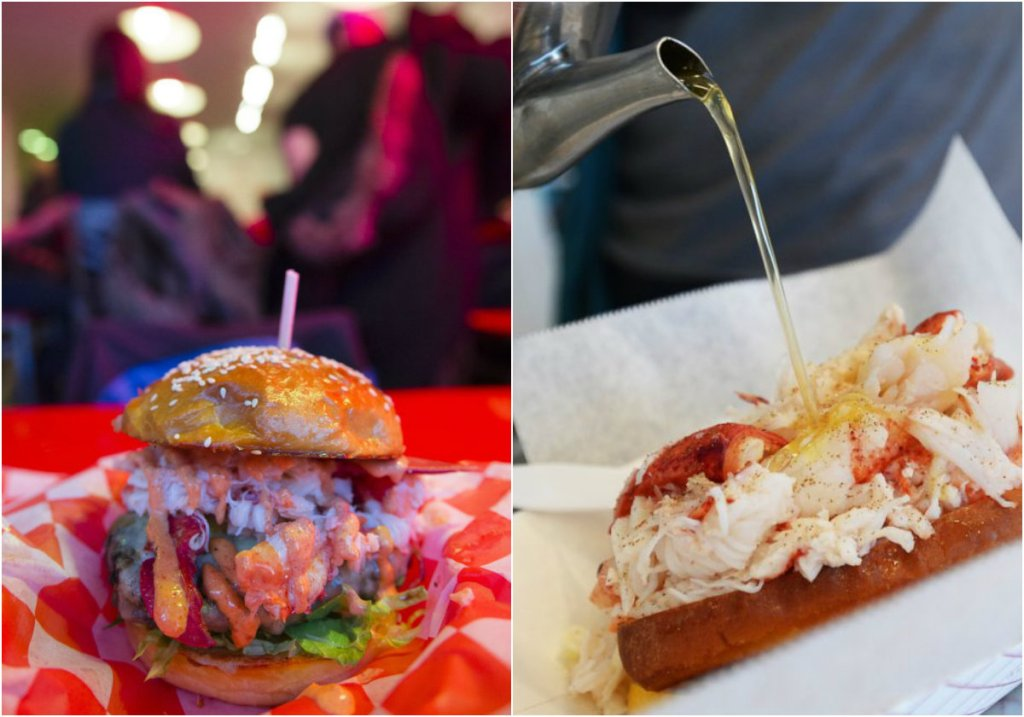Left, the Surf and Turf at Highroller Lobster Co. on Exchange Street in Portland. Right, the picnic-style lobster roll from Bite Into Maine.