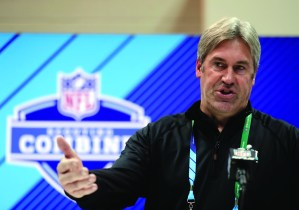 Philadelphia Eagles head coach Doug Pederson speaks during a press conference at the NFL football scouting combine in Indianapolis, Wednesday. AP NEWSWIRE