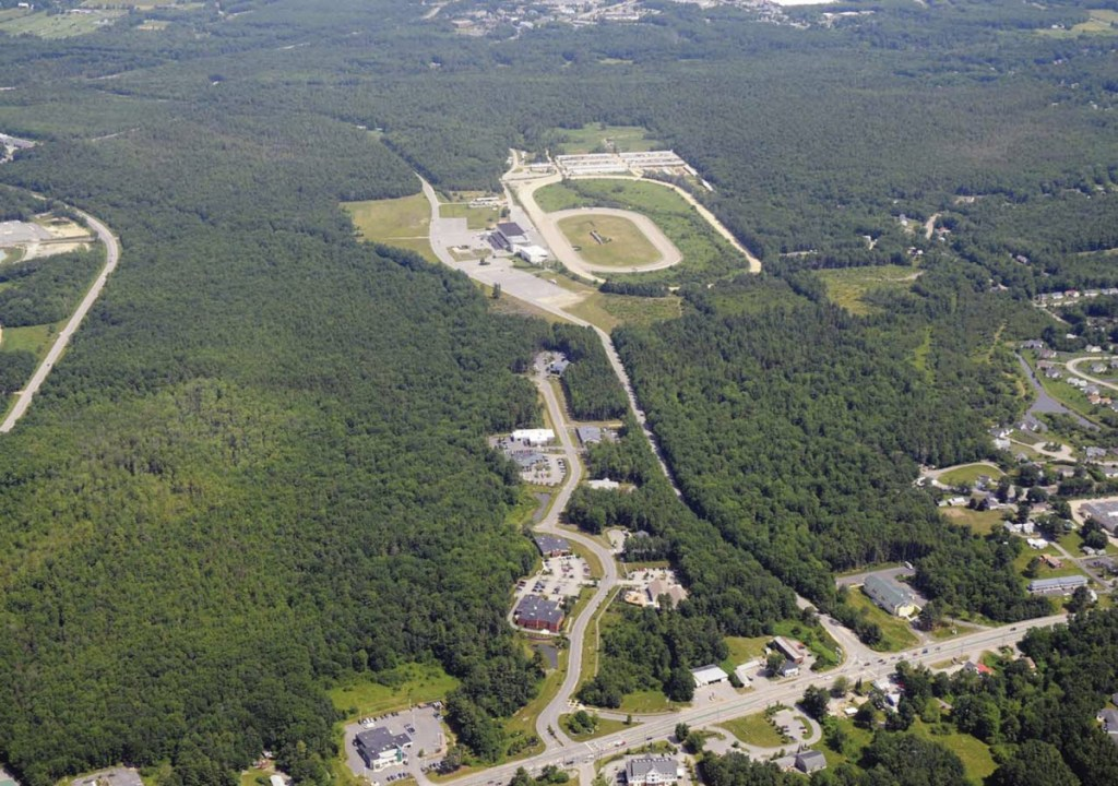 Developers plan to build housing, retail businesses and a town center at the 500-acre Scarborough Downs site, seen here with Route 1 at the bottom.