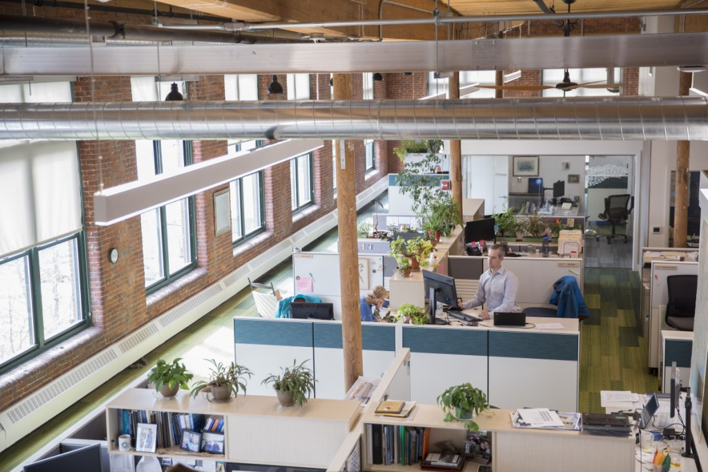 A view of some of the new open-concept space at the Nature Conservancy's office at Fort Andross in Brunswick. The nonprofit overhauled its office, making it as green as possible and prioritizing design aimed at bringing the outside inside.