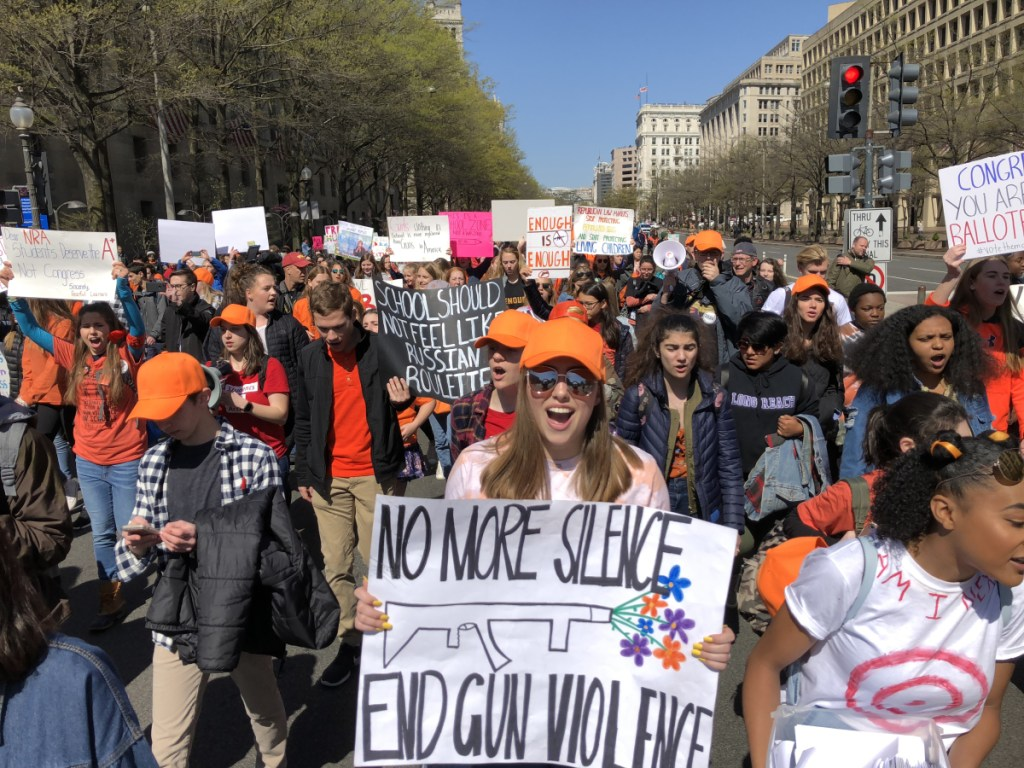 Students calling for an end to gun violence walked out of school Friday in Washington. MUST CREDIT: Washington Post photo by Michael Robinson Chavez