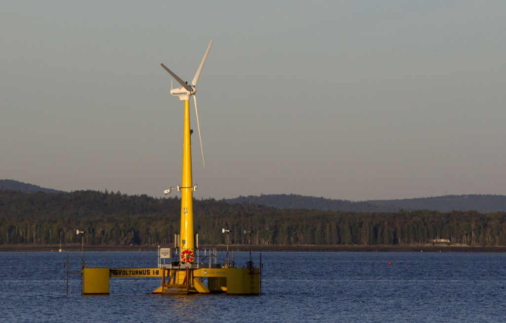Volturn US generates power off Castine in 2013. The prototype was  a scale model of the floating turbines to be used in a wind project planned for deep water off Monhegan Island.
