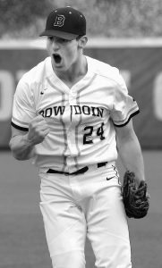 BOWDOIN RELIEVER Jack Wilhoite reacts after striking out the final Bates College hitter on Friday in Waterville. Wilhoite struck out five over two innings in the Polar Bears' 3-1 victory.