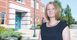 BRUNSWICK HIGH SCHOOL Principal Shanna Crofton, seen here outside the school in 2014. JOHN SWINCONECK / TIMES RECORD FILE PHOTO