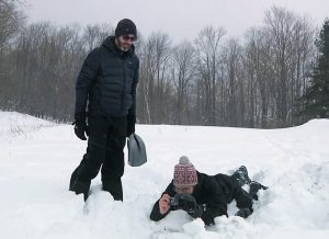 MARCO TEDESCO, LEFT, and Patrick Alexander of Columbia University's Lamont-Doherty Earth Observatory take infrared pictures of a snowpack in Highmount, New York.