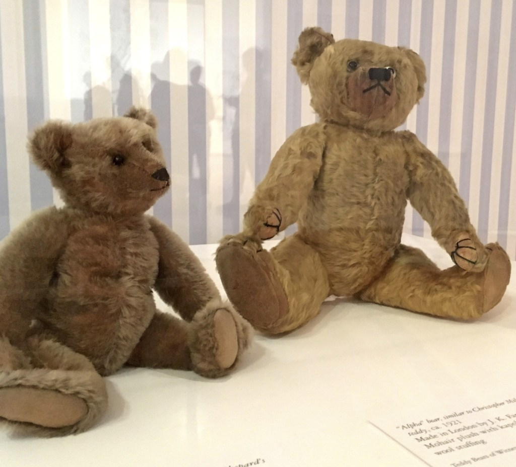 Stuffed bears like those owned by the sons of A.A. Milne and E.H. Shepard, the author and illustrator of the Winnie-the-Pooh books, are displayed at Atlanta's High Museum of Art.