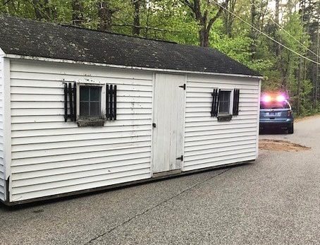 Three suspects are bing held in York County Jail after they allegedly stole this shed and tried to drag it away on Heath Road in Lebanon.
